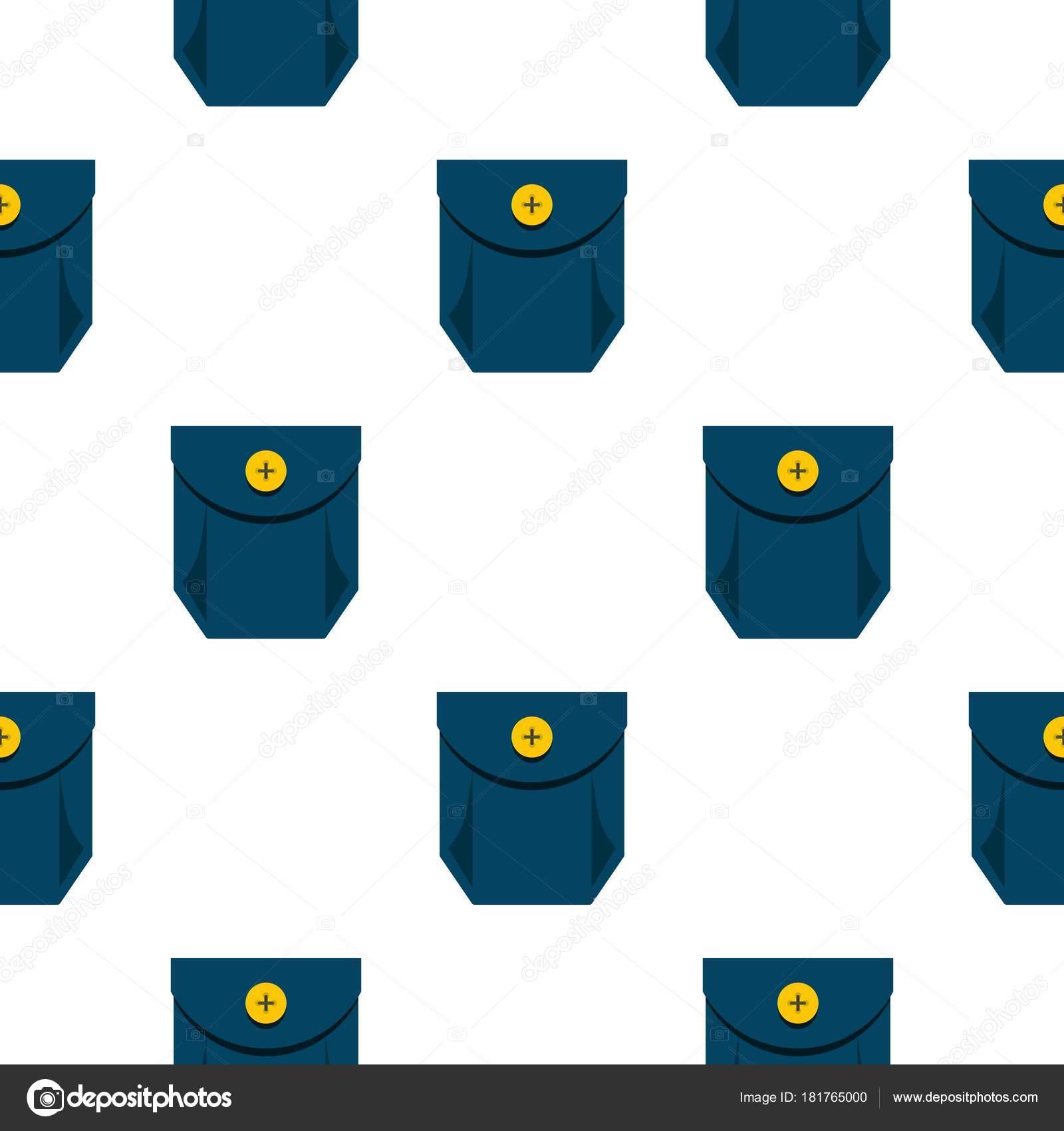 Blue jeans bolsillo con el patrón del botón amarillo plano — Vector ...
