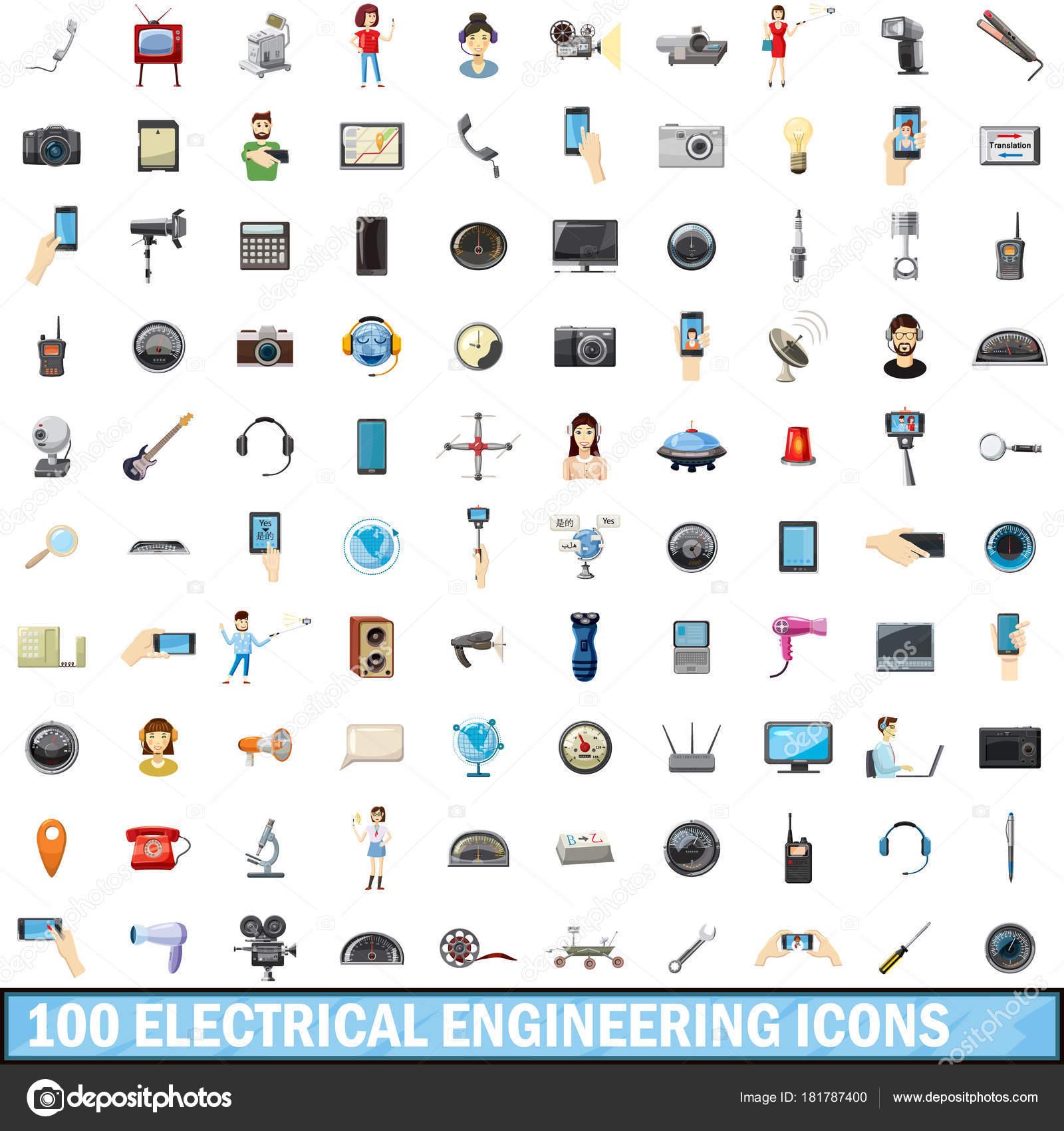 100 Elektrotechnik Symbole festlegen, cartoon — Stockvektor ...