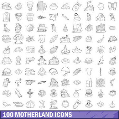 100 motherland icons set, outline style