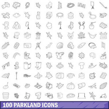 100 parkland icons set, outline style