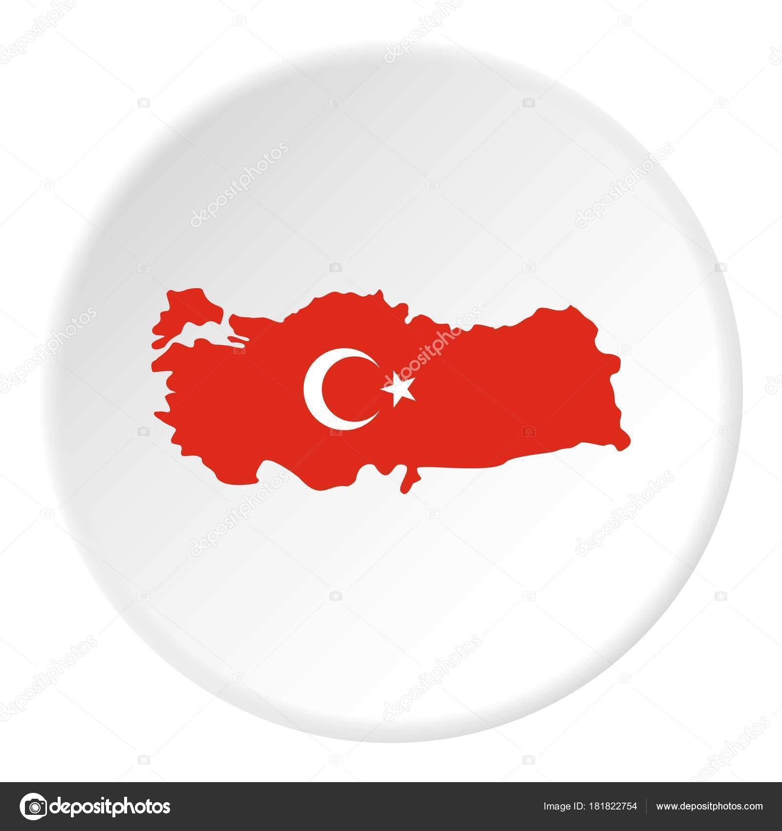 Türkei Karte in Nationalflagge Farben Symbol Kreis — Stockvektor ...