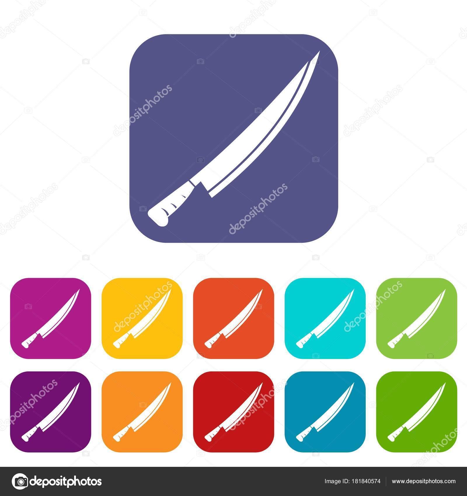 de31a49145 Ícones de faca comprida conjunto ilustração vetorial em estilo simples nas  cores vermelho, azul, verde e outras — Vetor de ...