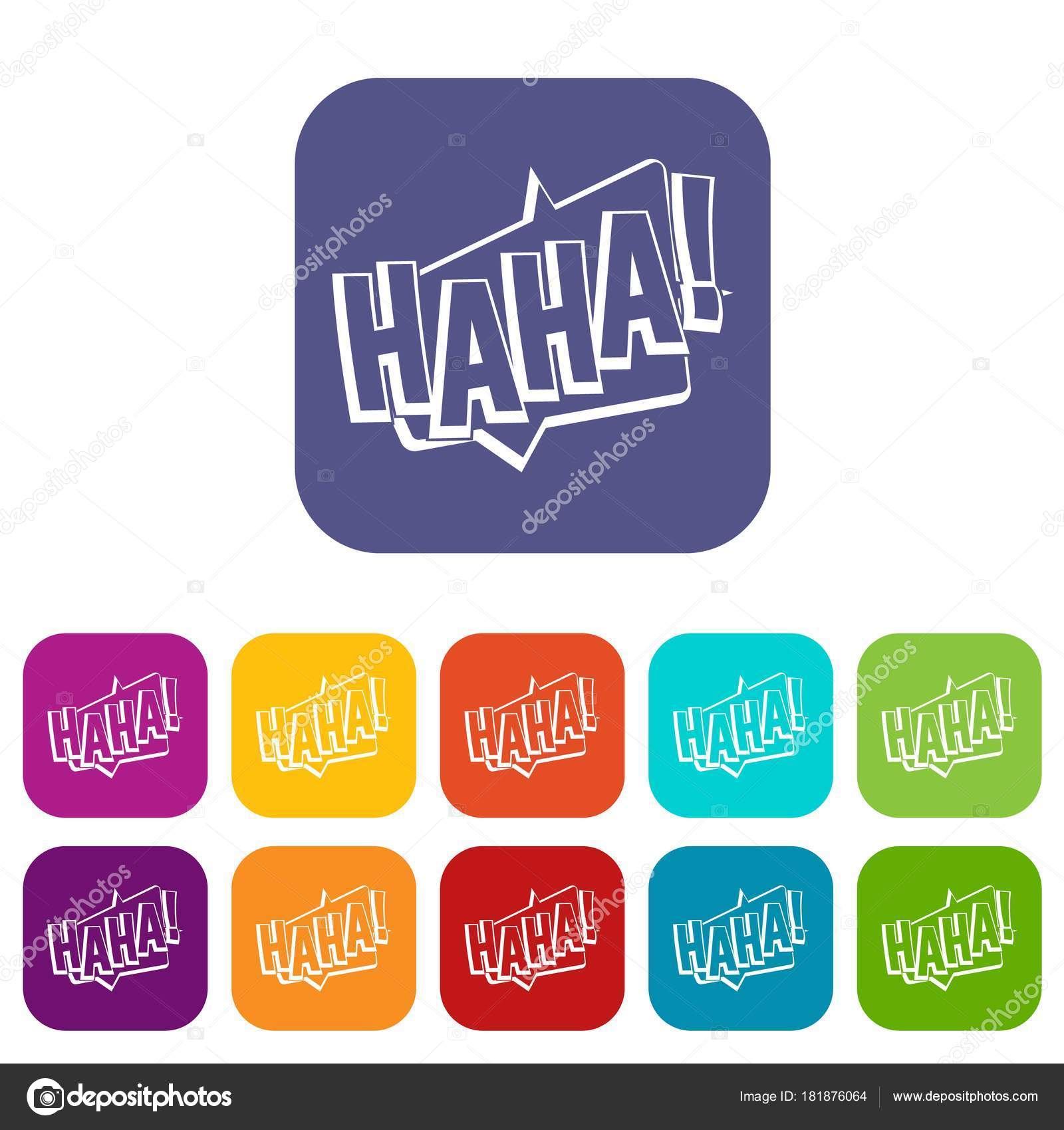 HAHA, comic text sound effect icons set flat — Stock Vector