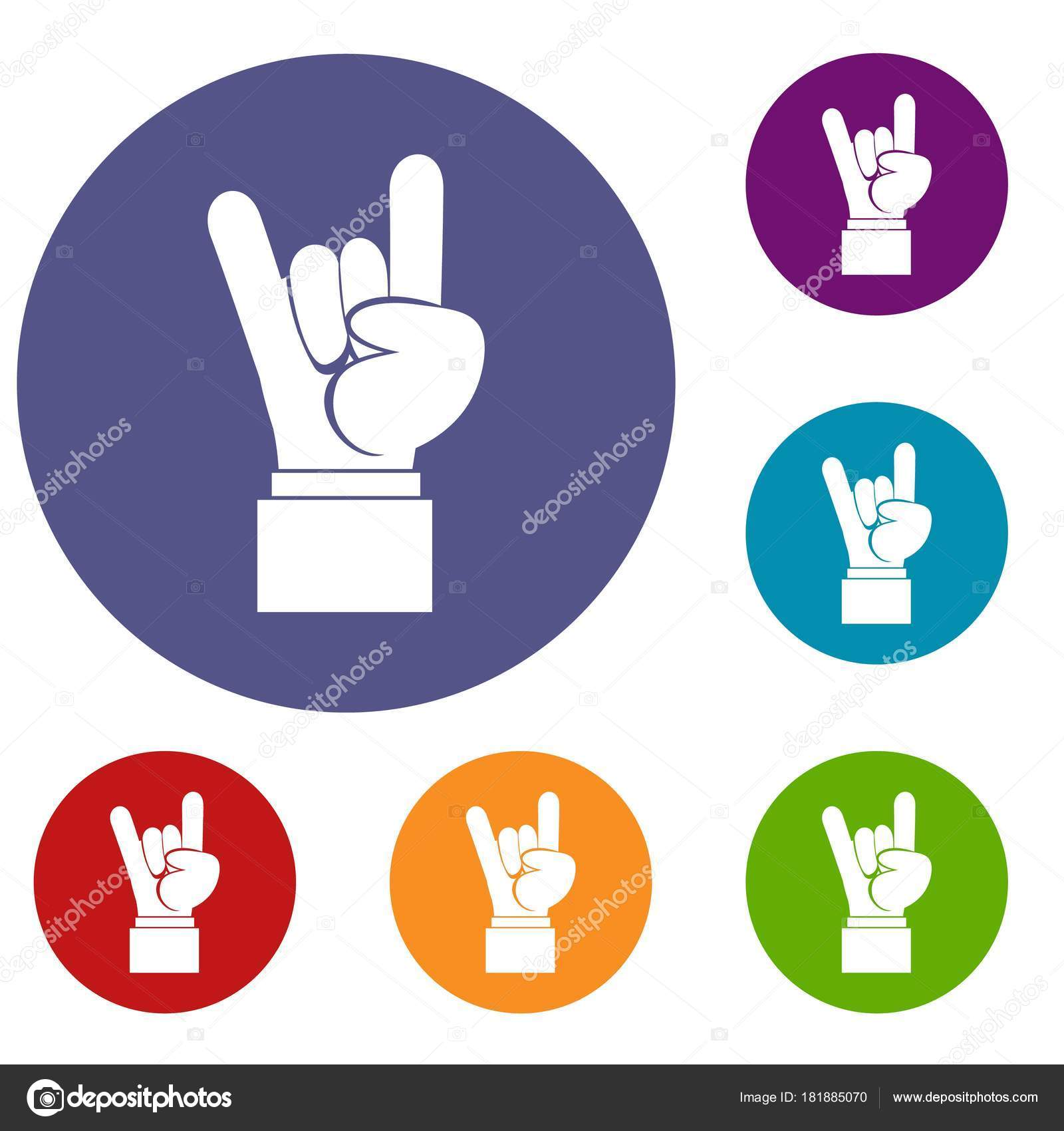 0662e3eb9 Rock and Roll hand sign icons set — Stock Vector © ylivdesign #181885070