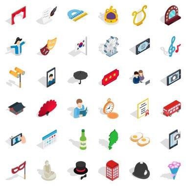 Etiquette icons set, isometric style