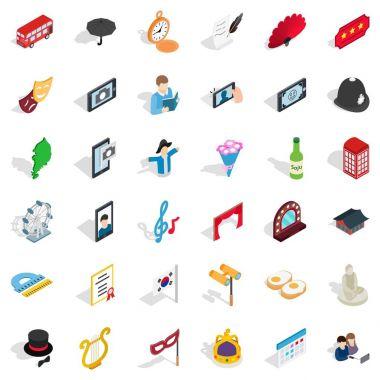 Parade icons set, isometric style