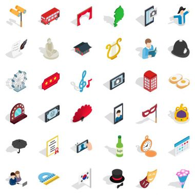 Good manners icons set, isometric style