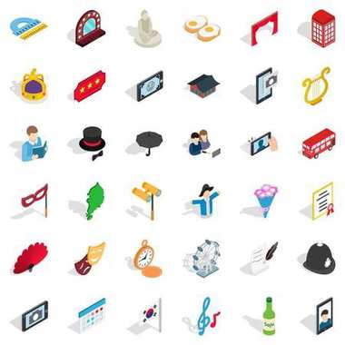 Manners icons set, isometric style