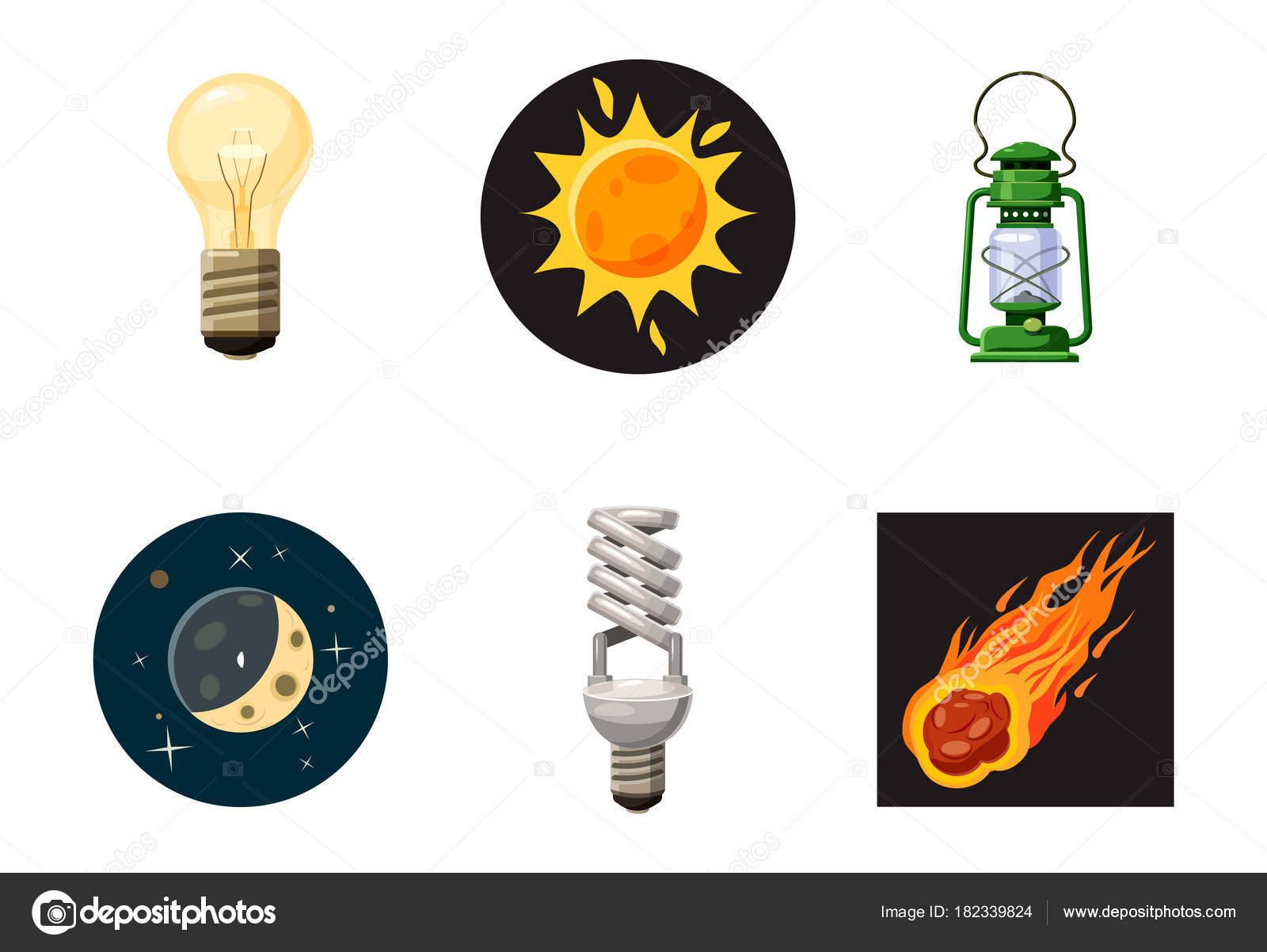 Conjunto De Iconos De Fuente De Luz, Estilo De Dibujos