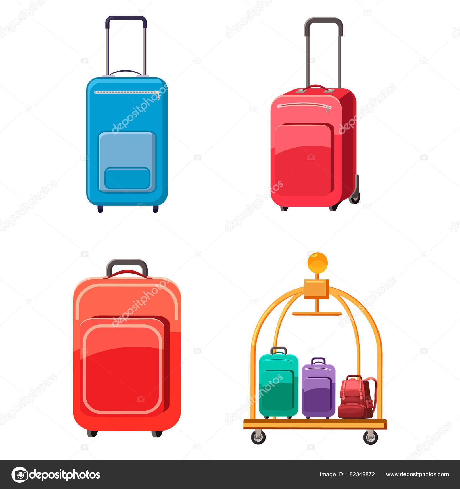 fc42da99ee Ορίστε εικονίδιο τσάντα ταξιδιού. Σετ ταξιδίου τσάντα ανυσματικά εικονίδια  για web design που απομονώνονται σε λευκό φόντο