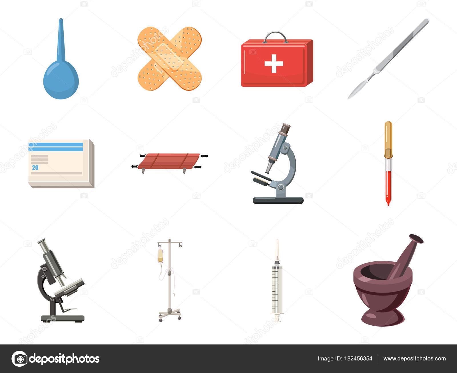Medizinische Geräte-Icon-Set, Cartoon-Stil — Stockvektor ...