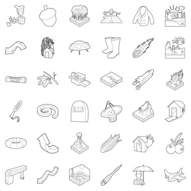Meteorological icons set, outline style