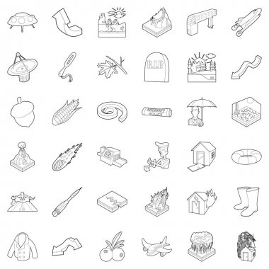 Atmospheric icons set, outline style