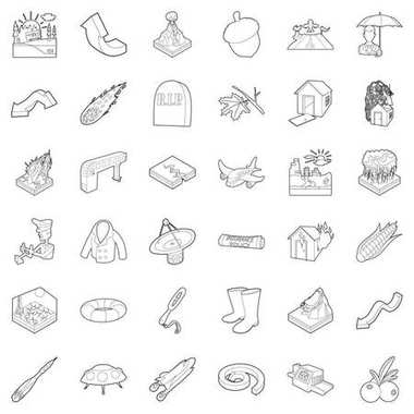 Air icons set, outline style