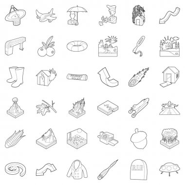 Air environment icons set, outline style