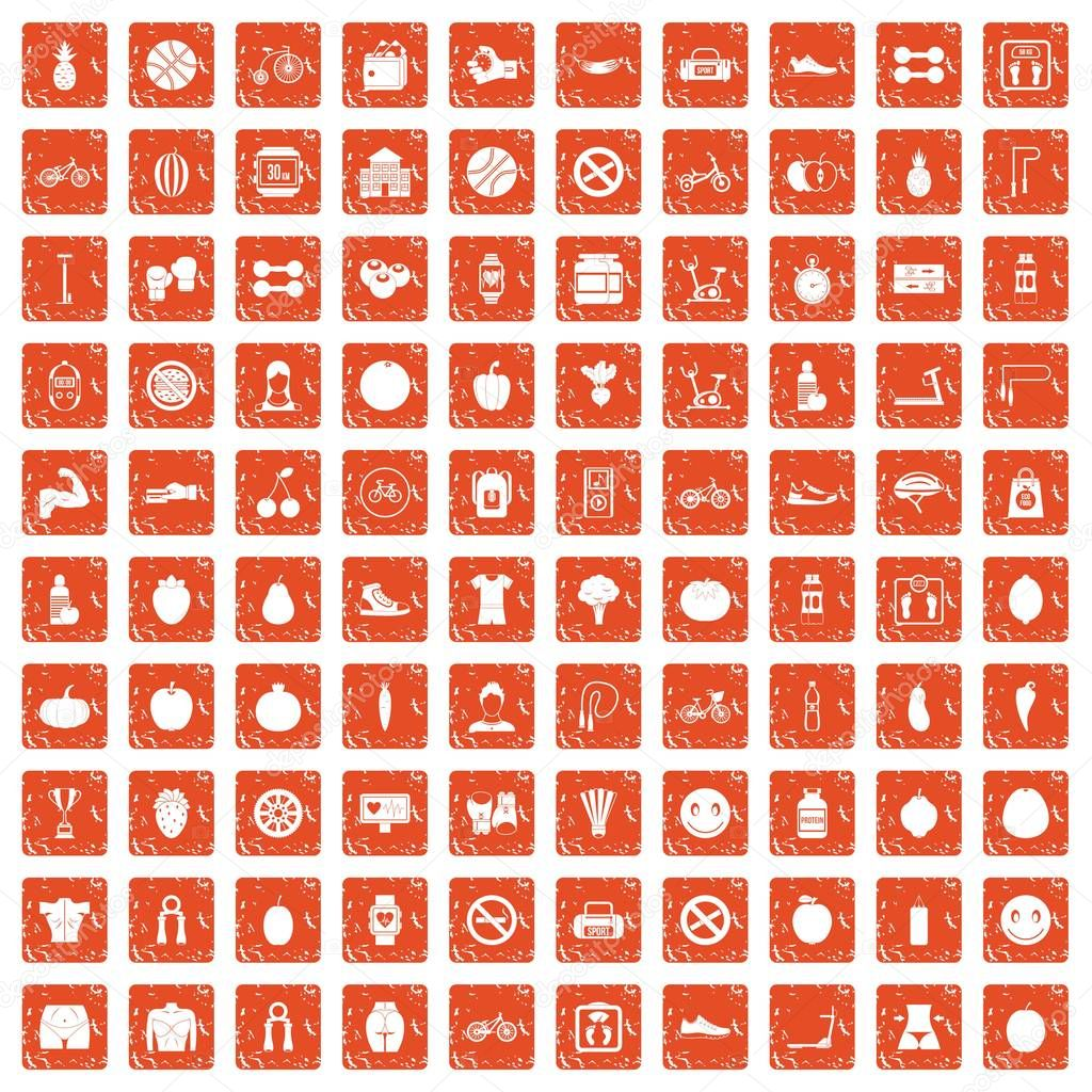 100 fitness icons set grunge orange