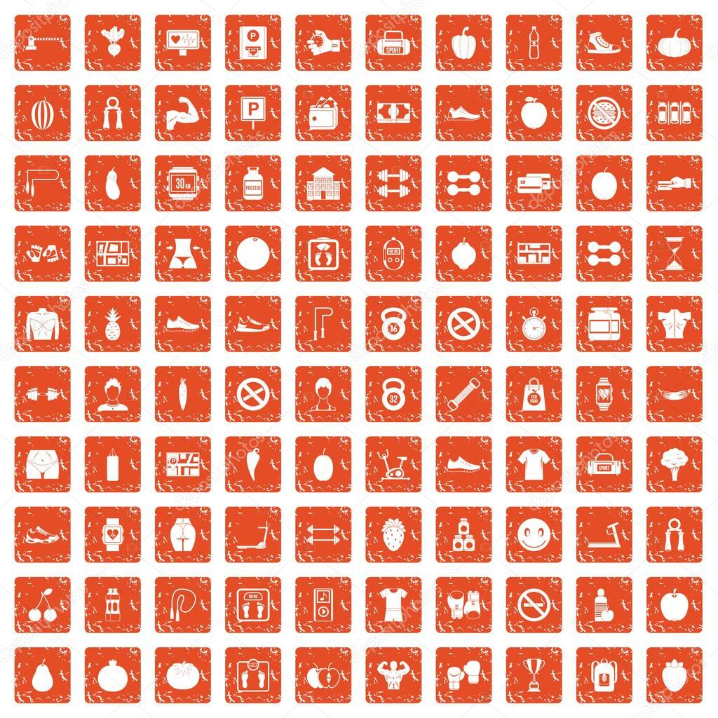 100 gym icons set grunge orange