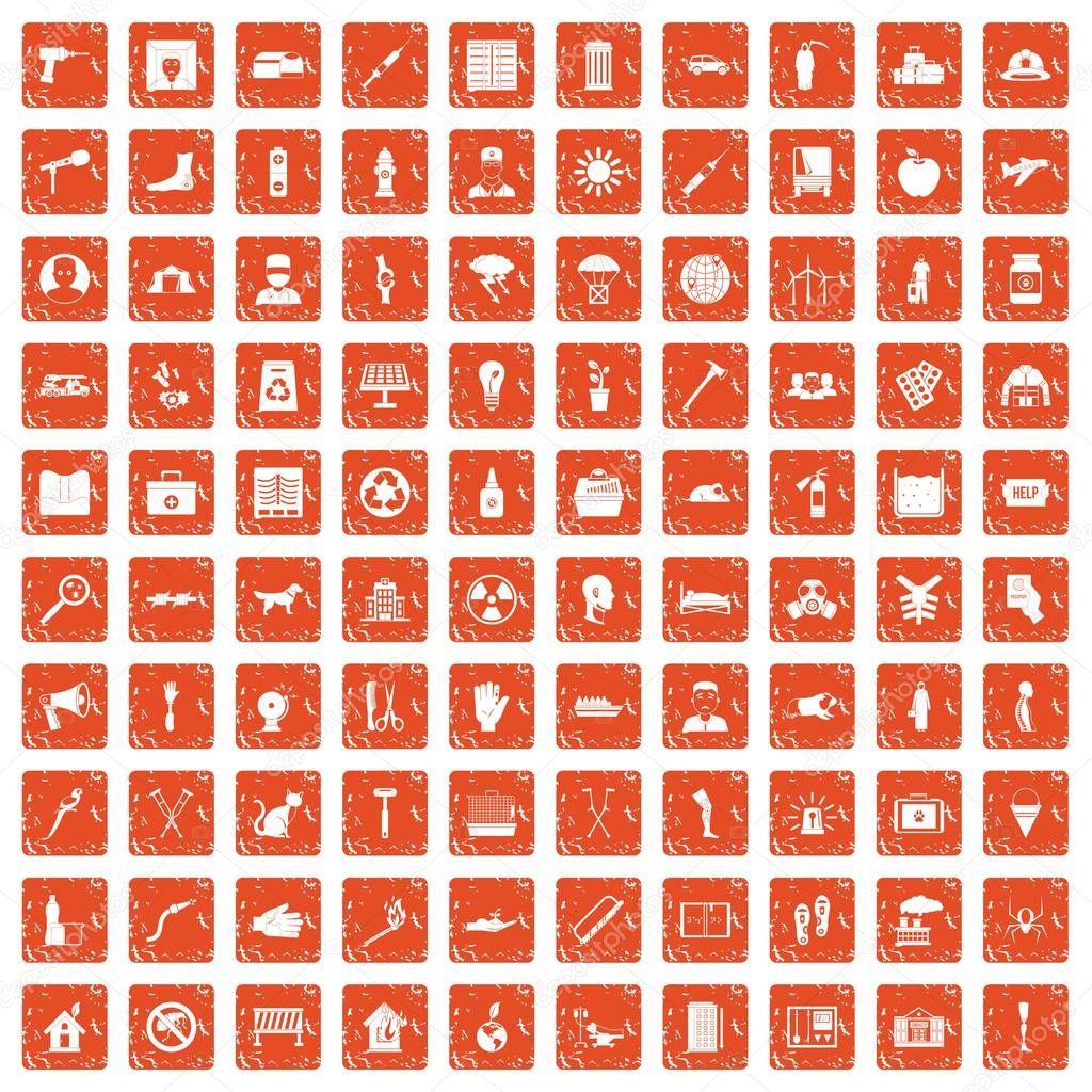 100 help icons set grunge orange