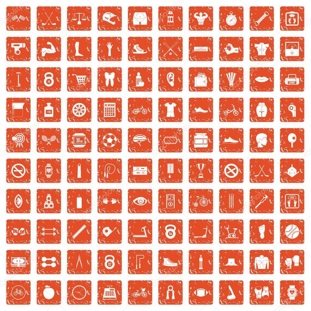 100 kettlebell icons set grunge orange