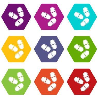 Three pills icon set color hexahedron