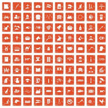 100 pets icons set grunge orange