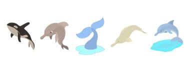 Sea mammals icon set, cartoon style