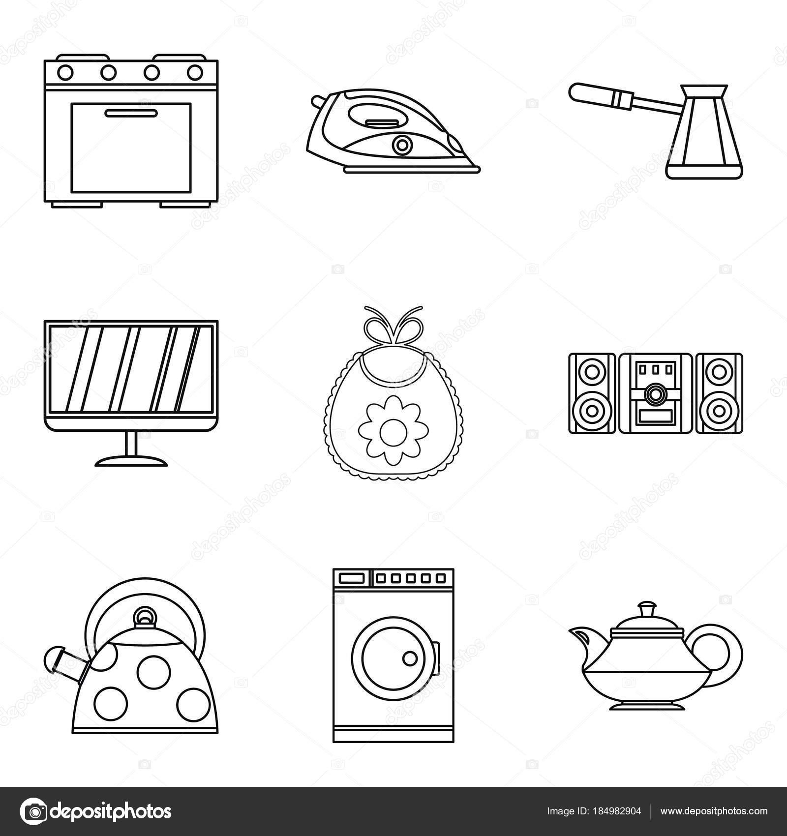 Daueraufenthalt Icons Set, Umriss-Stil — Stockvektor © ylivdesign ...