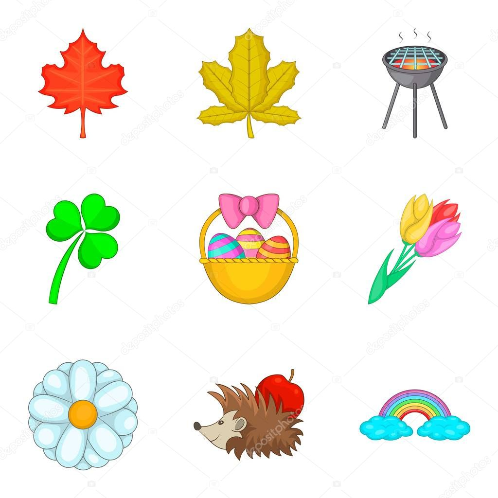 Early spring icons set, cartoon style