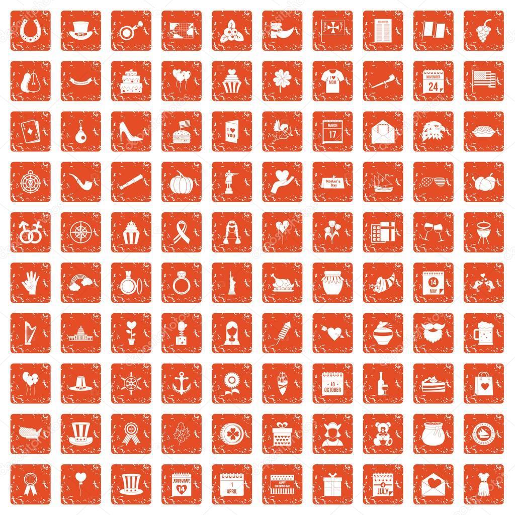 100 calendar icons set grunge orange