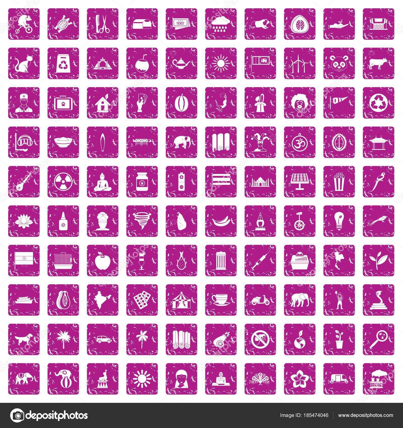 Los iconos 100 elefante set grunge rosado — Archivo Imágenes ...