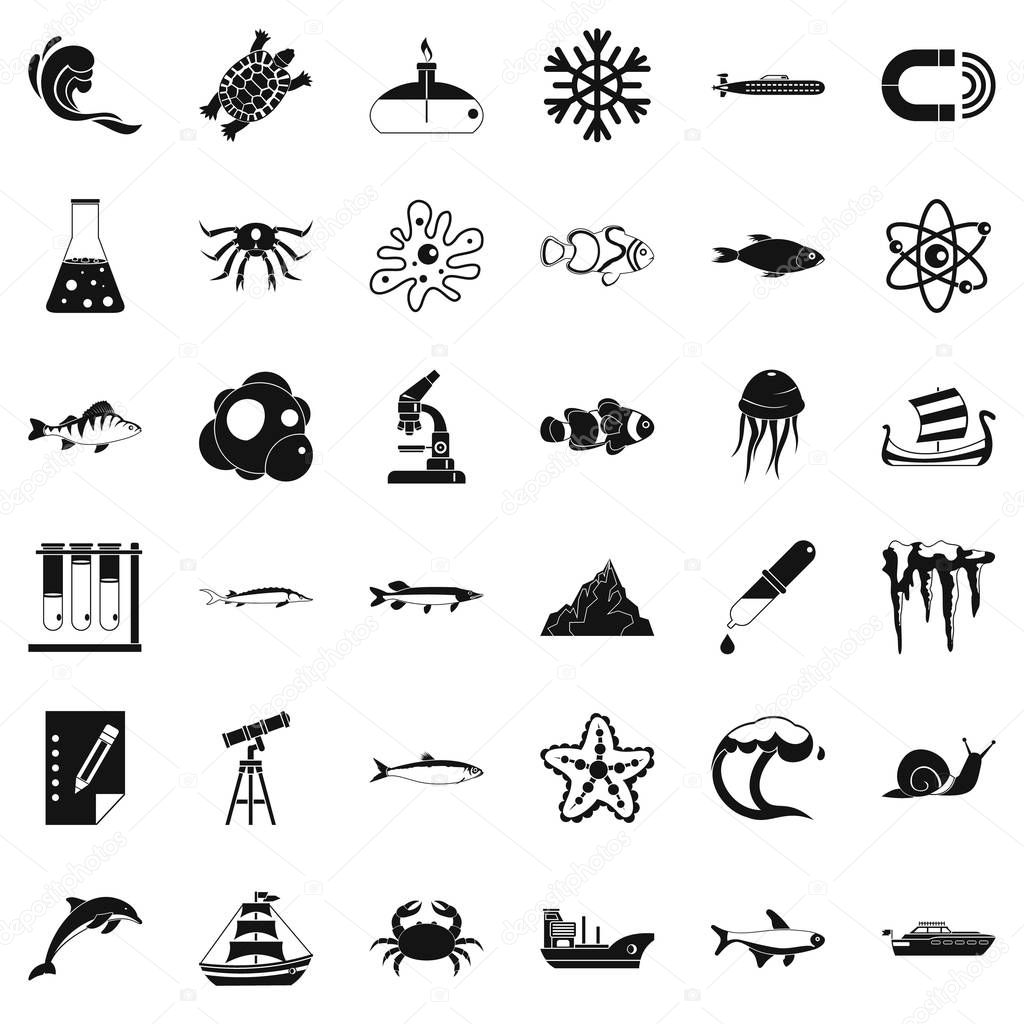 Navy department icons set, simple style