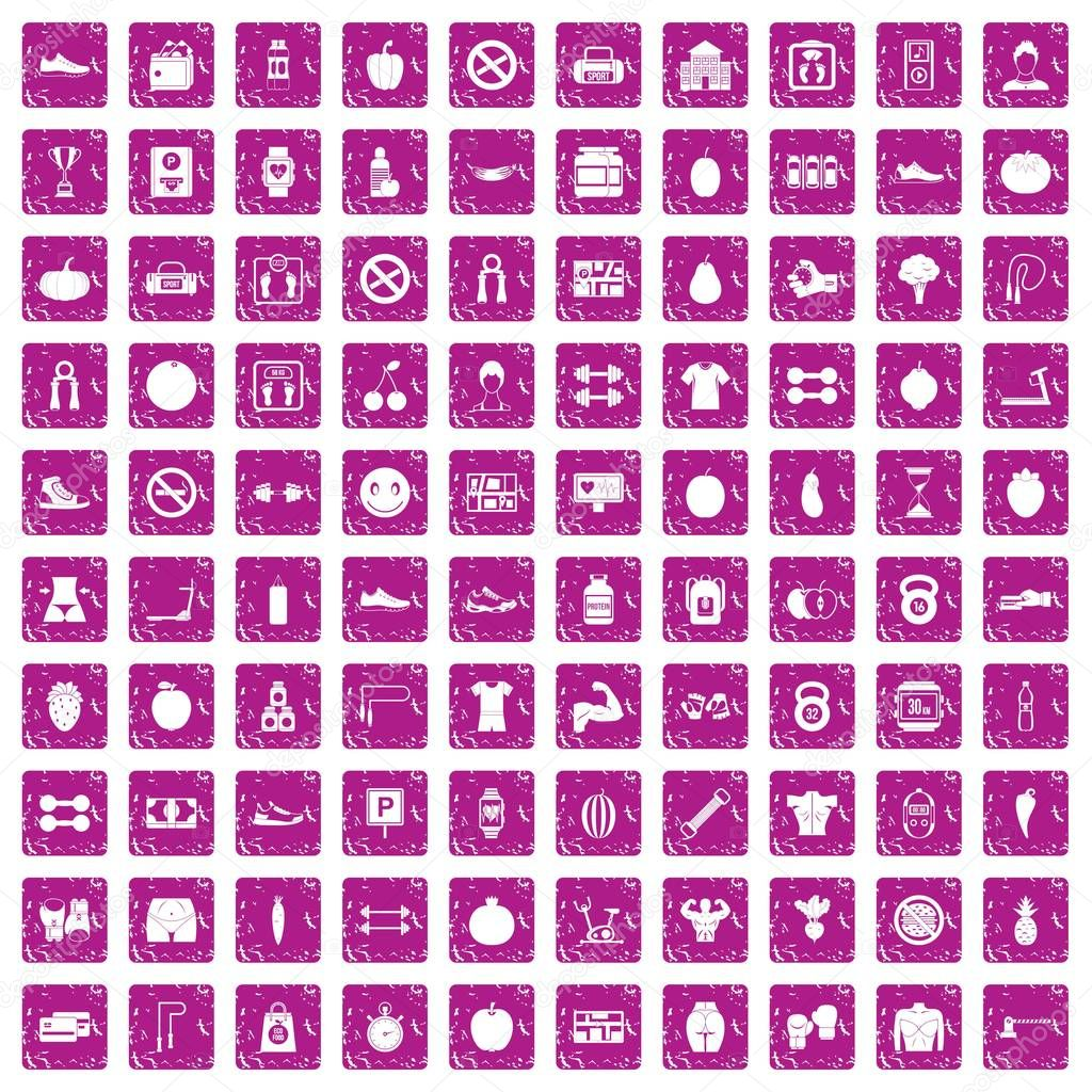 100 gym icons set grunge pink