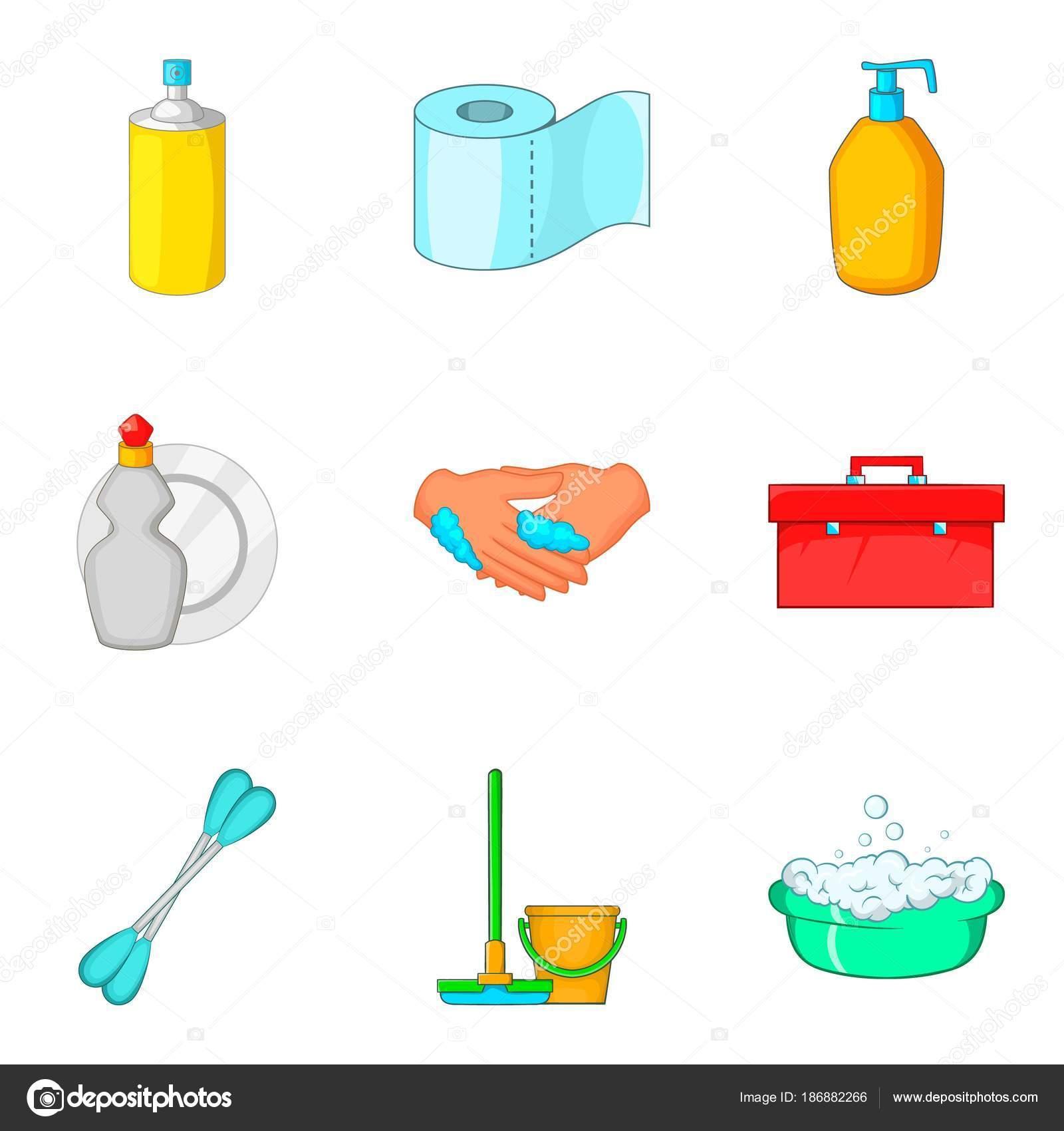 Toiletry Icons Set Cartoon Style Stock Vector C Ylivdesign