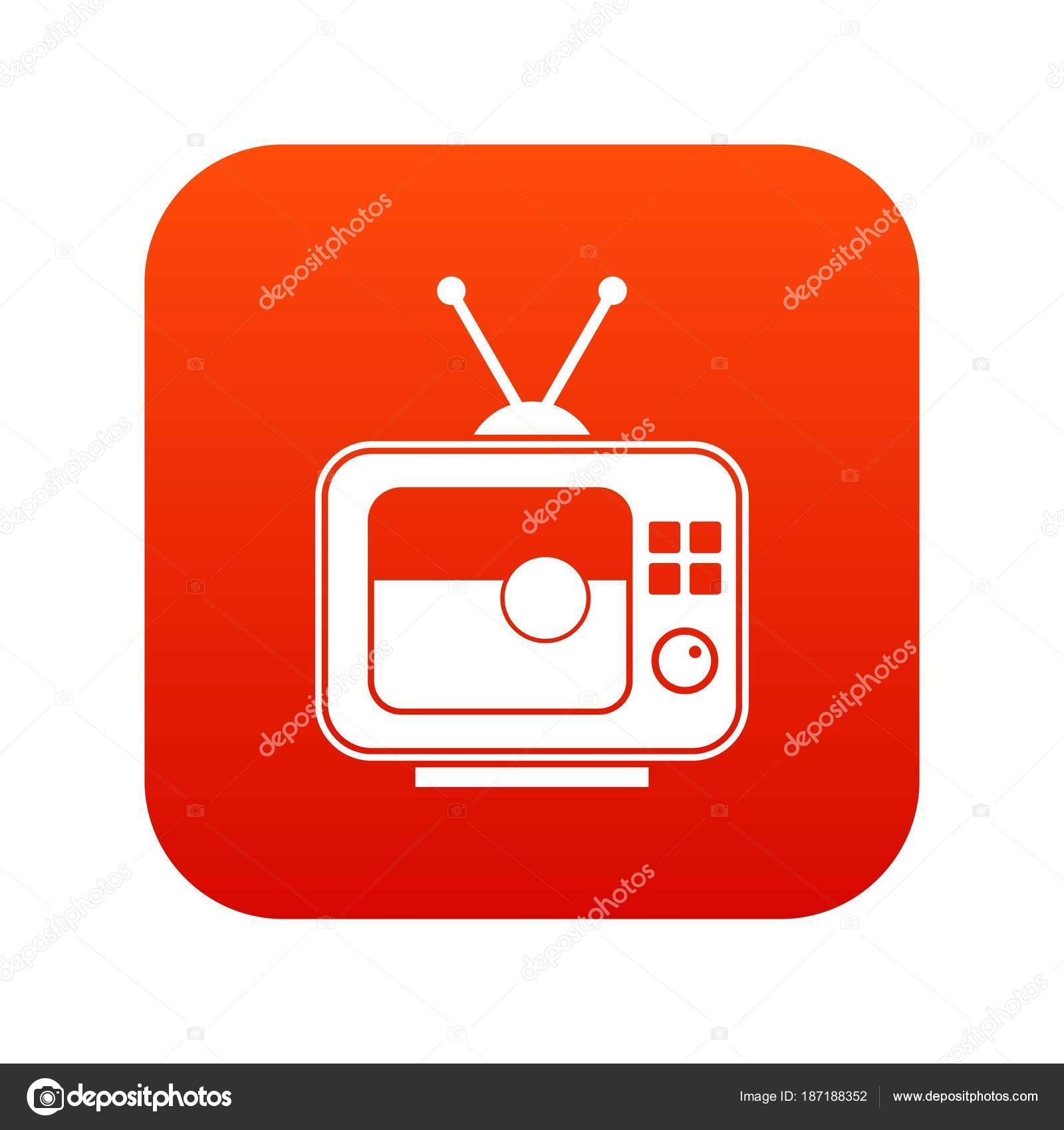 Soccer match on TV icon digital red — Stock Vector