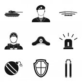 Military weapon icons set, simple style