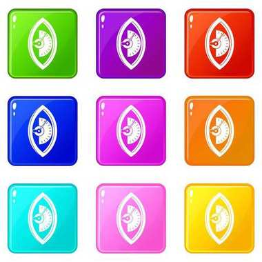 Hand power meter icons 9 set