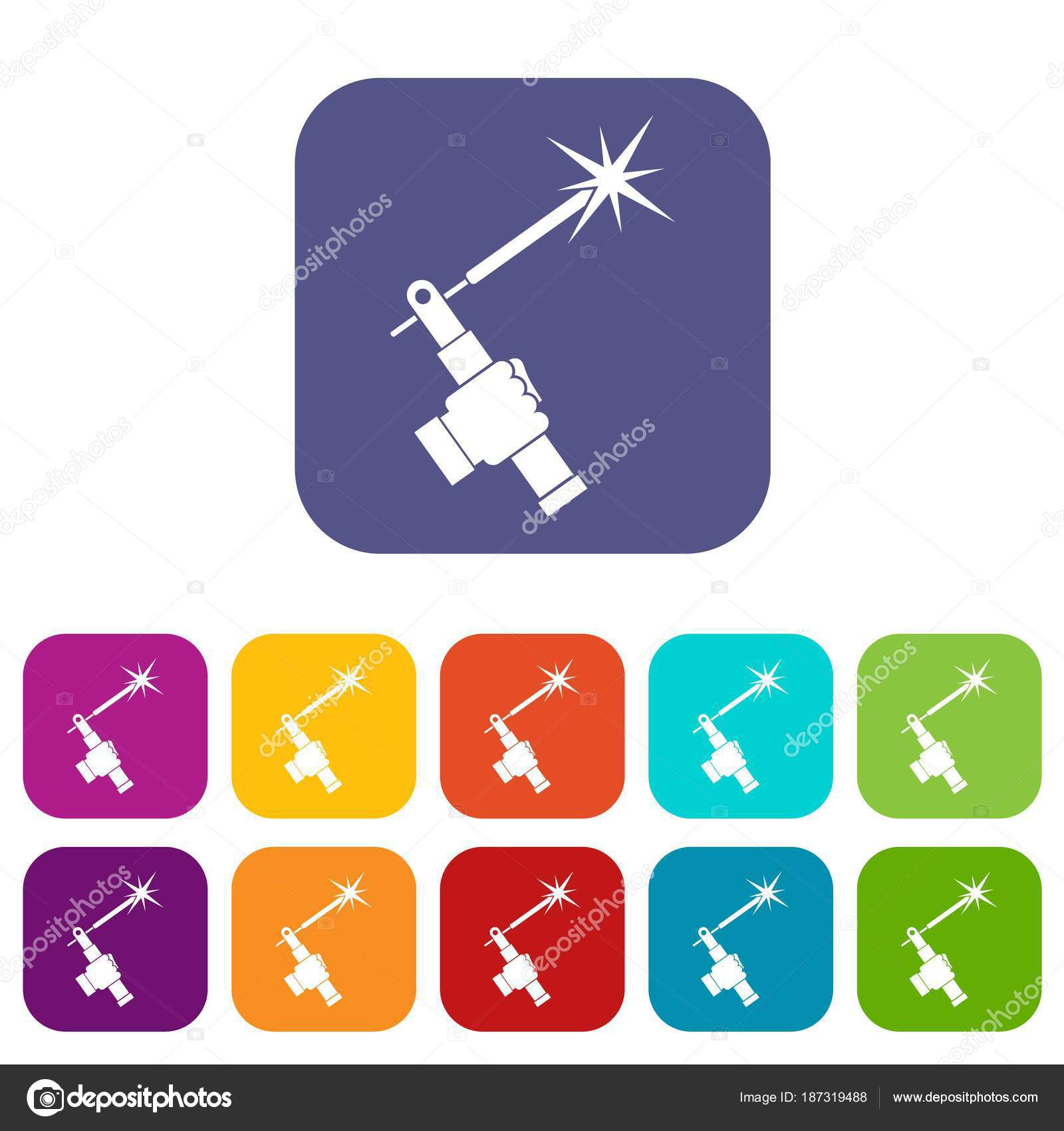 Mig Welding Torch In Hand Icons Set Flat Stock Vector Ylivdesign Diagram