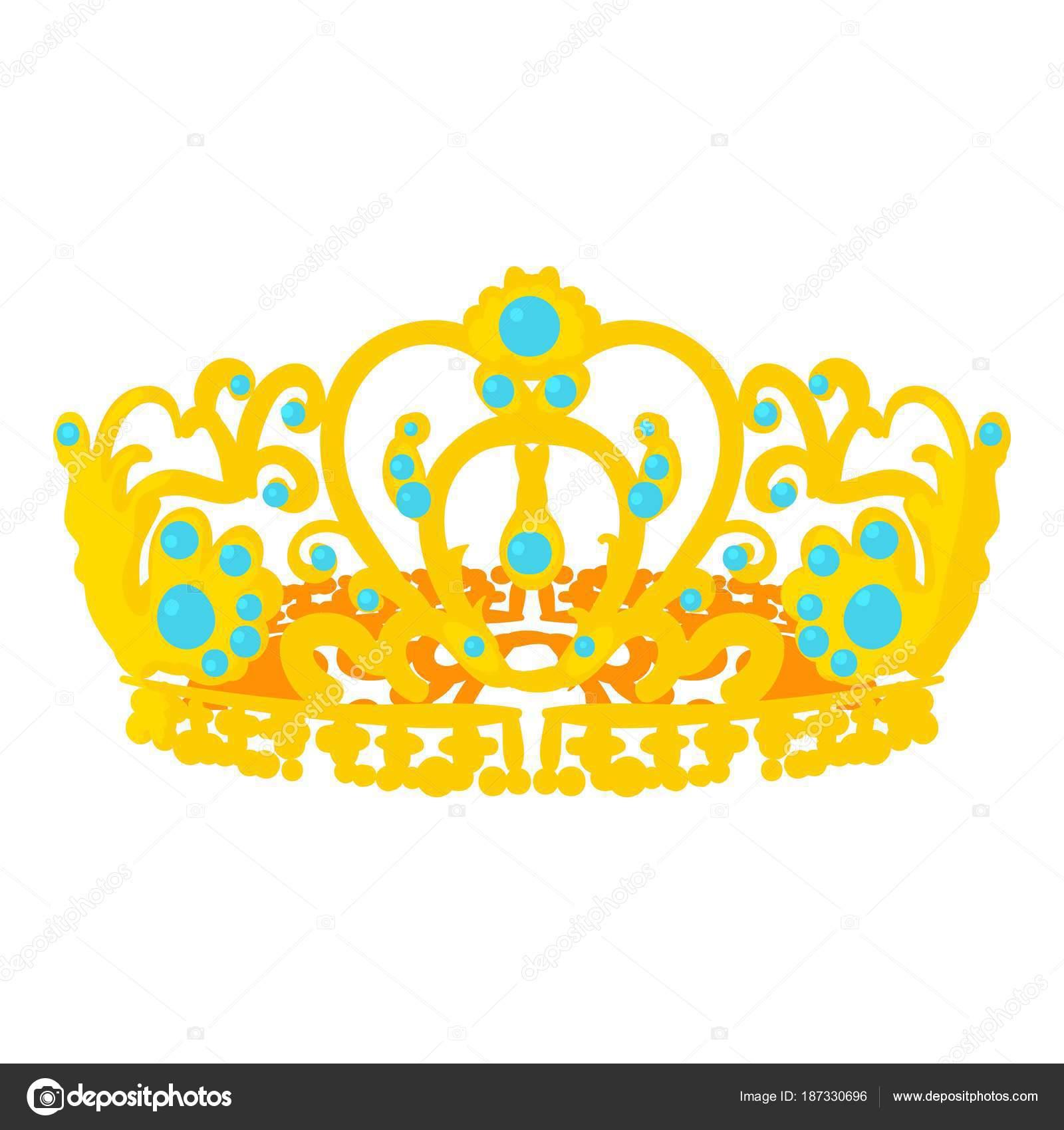 Corona Del Reina Icono Estilo De Dibujos Animados Archivo