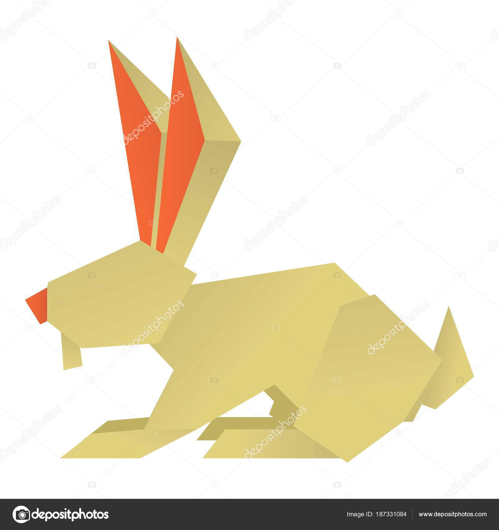 Origami Rabbit Icon Cartoon Style Stock Vector C Ylivdesign