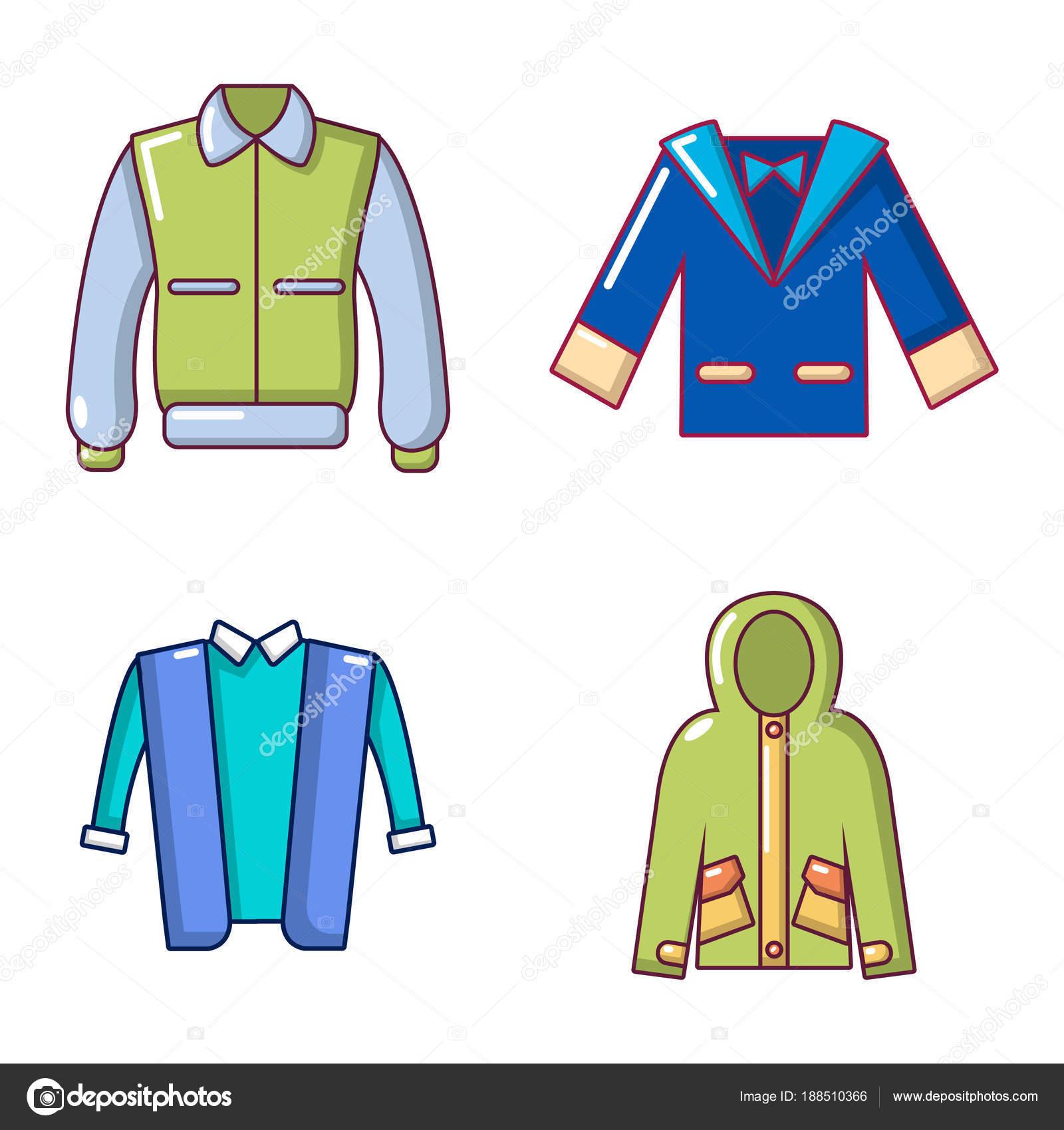 c4ed93546181b Conjunto de iconos de la chaqueta. Dibujo animado conjunto de iconos de  vector de chaqueta para diseño web aislado sobre fondo blanco - imágenes   chaqueta ...