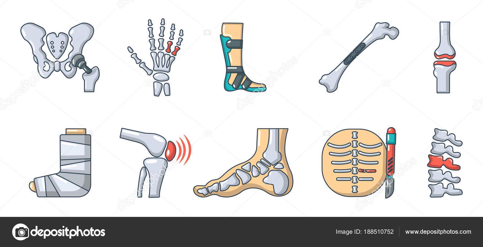 Conjunto de iconos de huesos humanos, estilo de dibujos animados ...