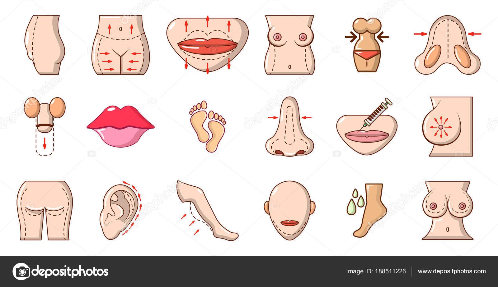Conjunto De Iconos De Cuerpo Humano Estilo De Dibujos Animados