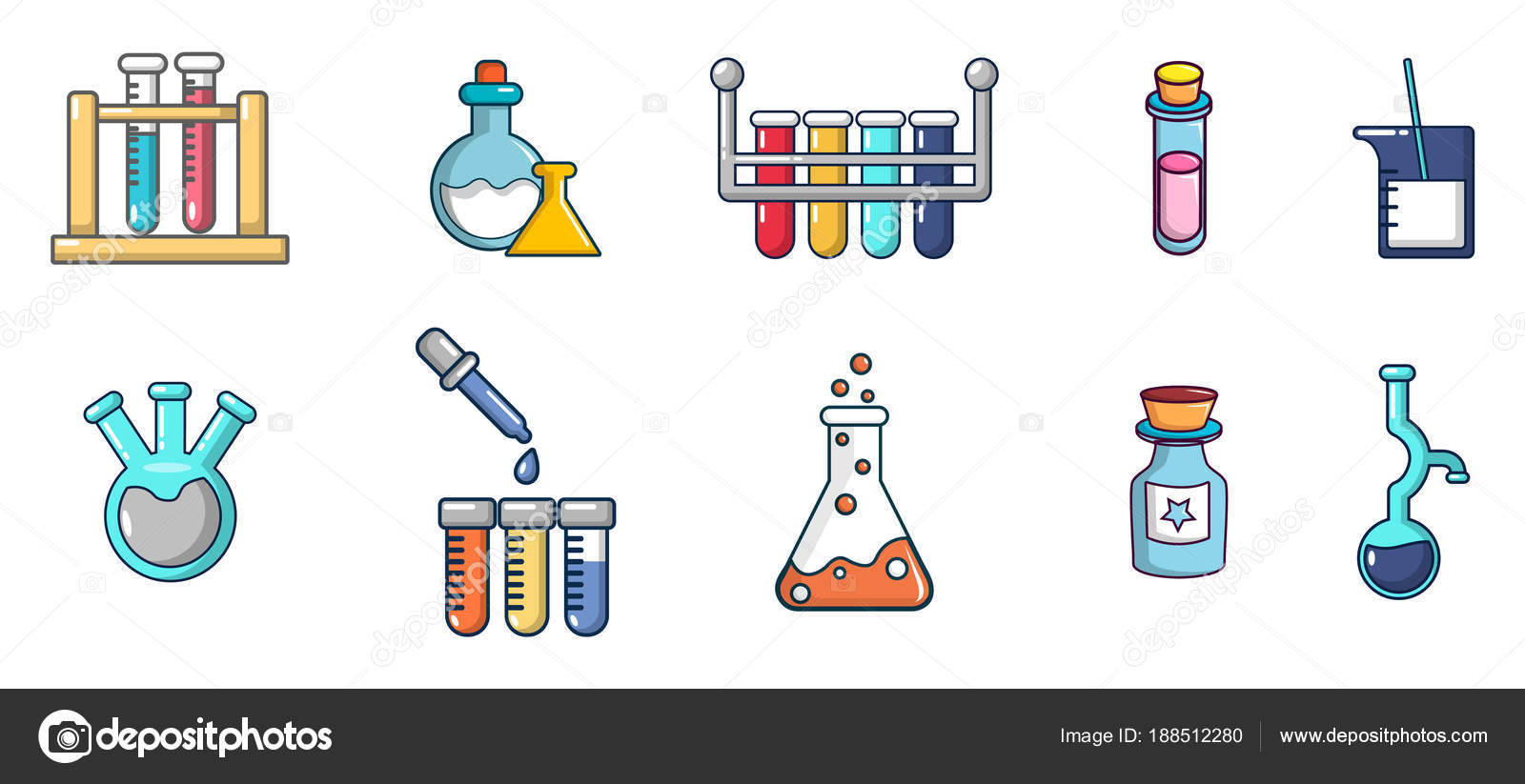 Conjunto De Iconos De Química Macetas, Estilo De Dibujos