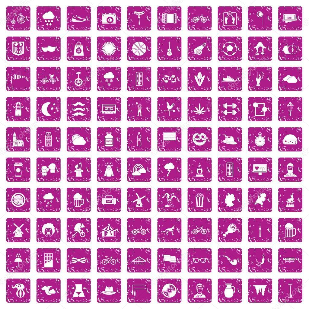 100 bicycle icons set grunge pink