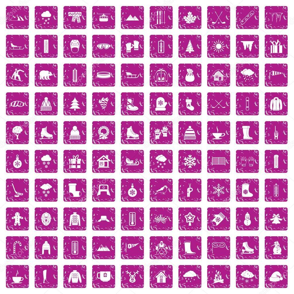 100 winter icons set grunge pink