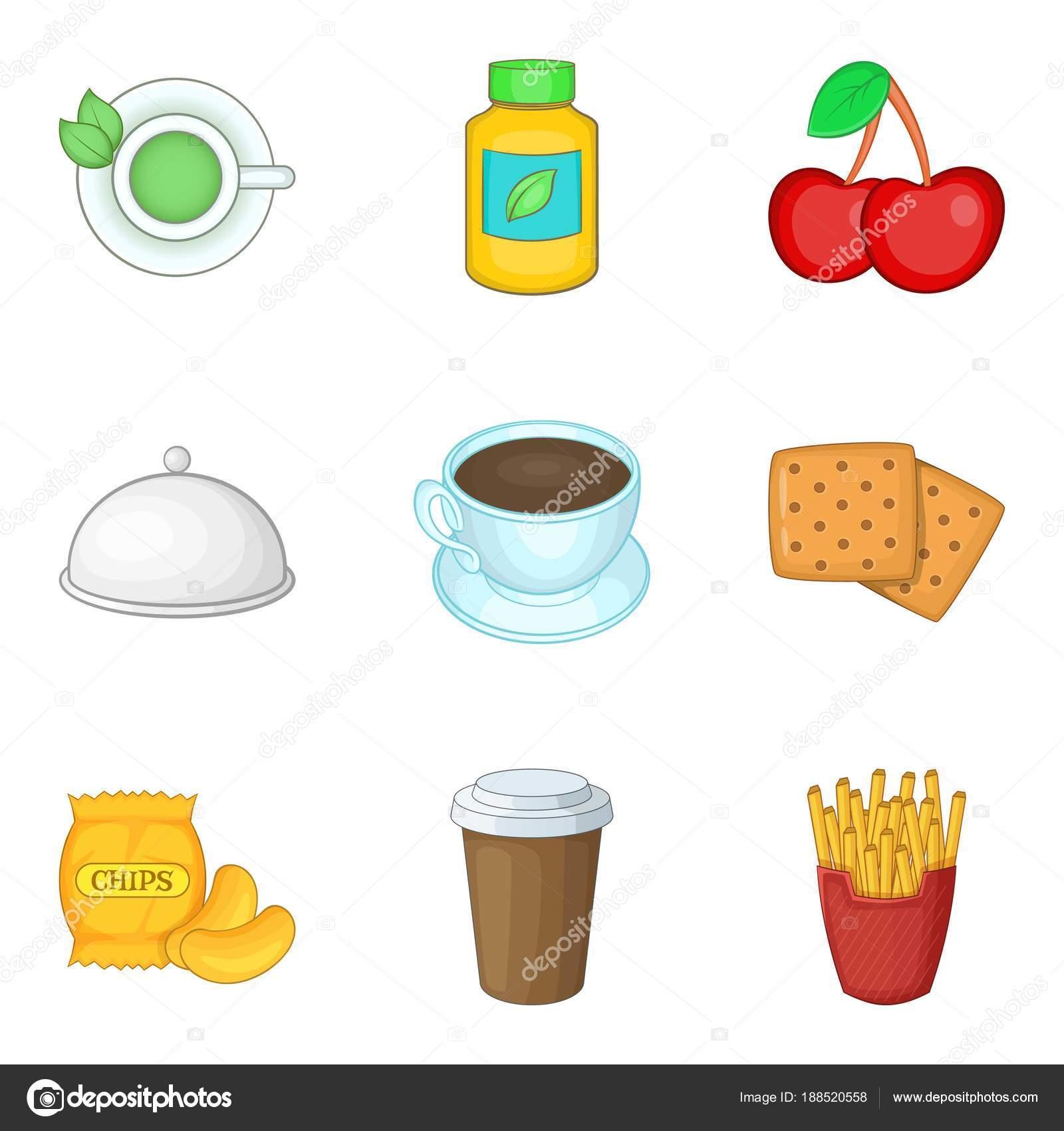 Animado Ilustraciones De La Nutrición Conjunto De Iconos