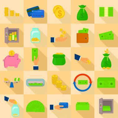 Money types icons set, flat style