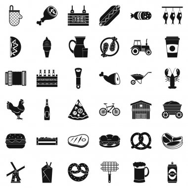 Gastronome icons set, simple style