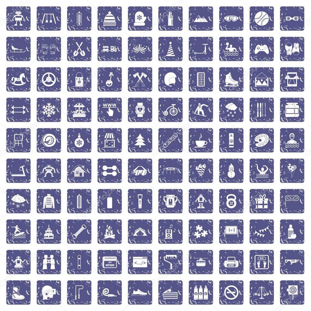 100 children activities icons set grunge sapphire