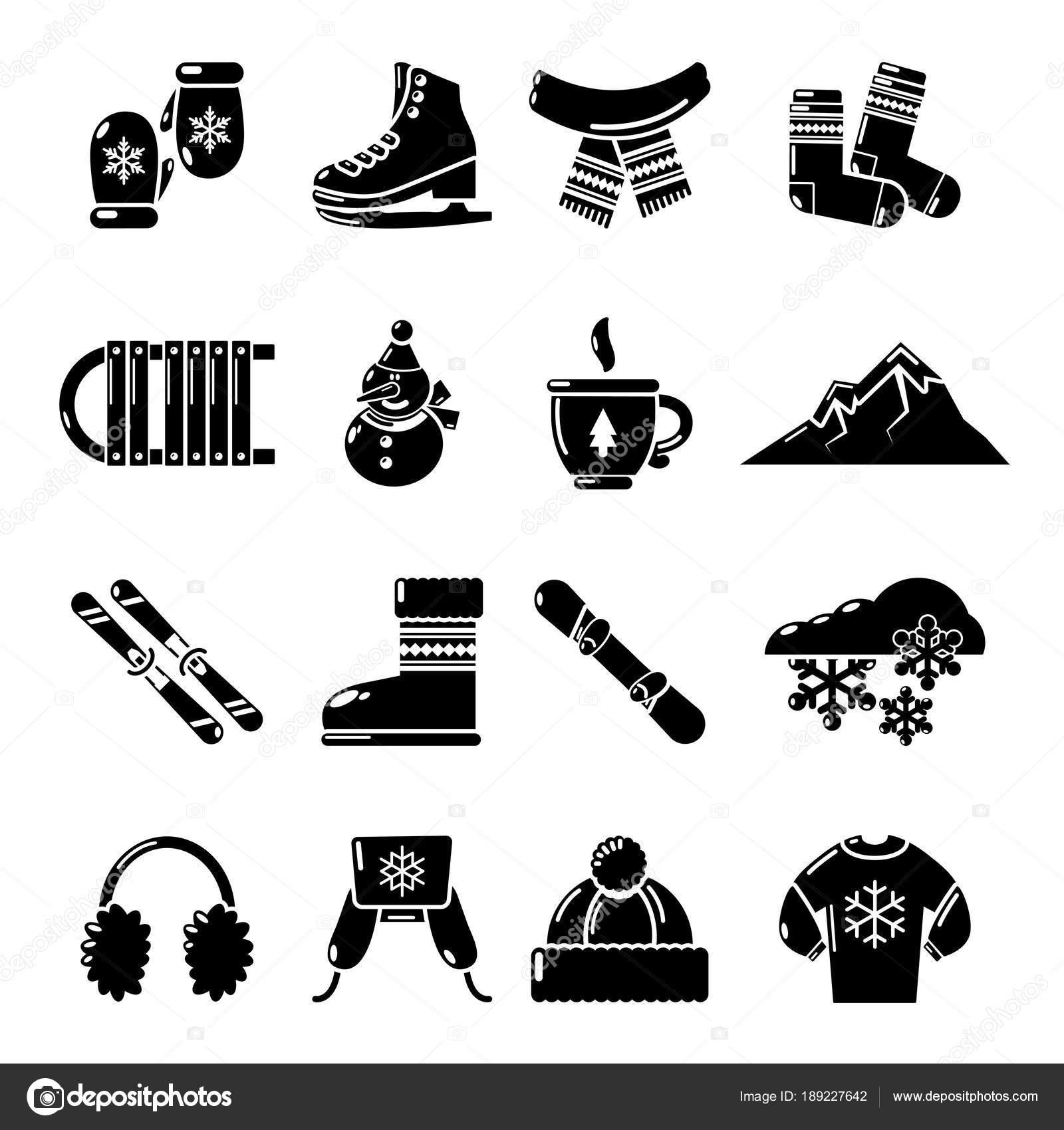 ce13234bfcd Zimní oblečení ikony nastavit